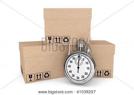 Logistic Concept. Stopwatch And Boxes