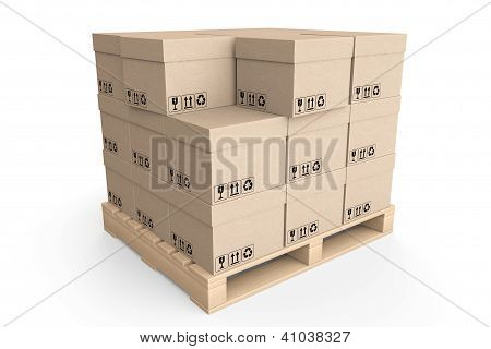 Logistics Concept. Cardboard Boxes On Wooden Palette