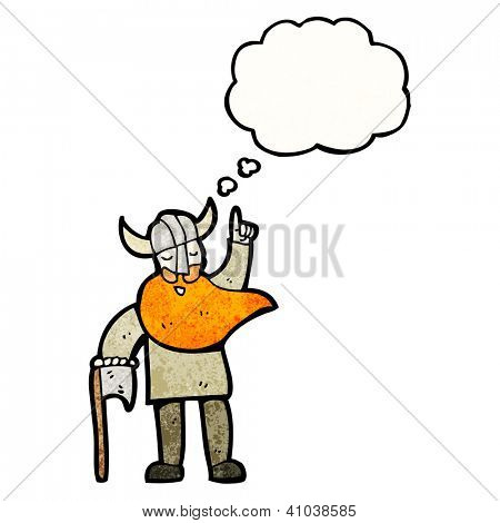 cartoon viking with thought bubble