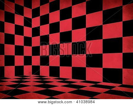 Red Checkered Old Room