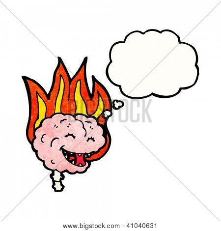 cartoon flaming brain
