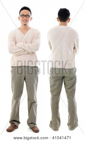 Southeast Asian Chinese male. Front and rear view of Asian man isolated on white background.