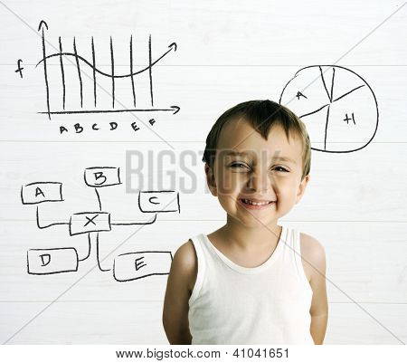 Portrait of an innocent kid with charts in background