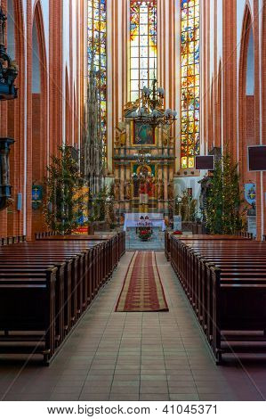 WROCLAW, POLAND - DECEMBER 29: St. Elisabeth Church interior on December 29, 2012 in Wroclaw, Poland. The St. Elisabeth Church is one of the oldest and biggest temples in Wroclaw.