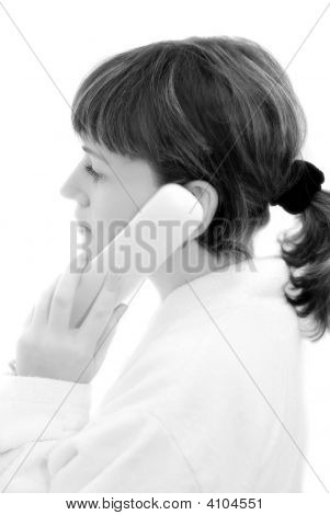 The Girl Talking By Phone Black And White