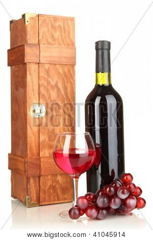Wooden case with wine bottle isolated on white