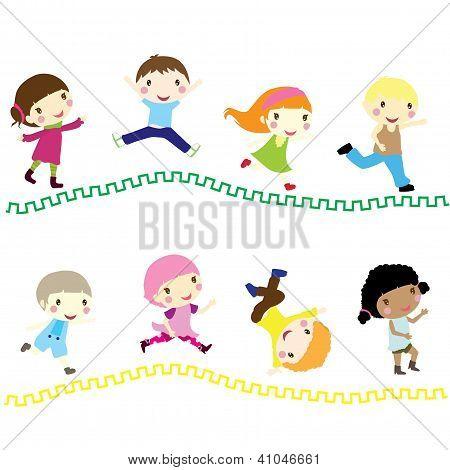 Little Children Running To School