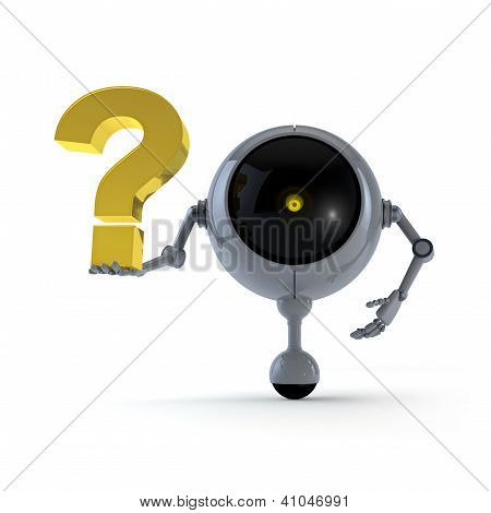 Robot Keep Question Mark Sign