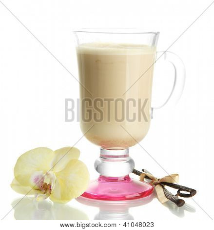 Fragrant coffee latte in glass cup with vanilla pods isolated on white