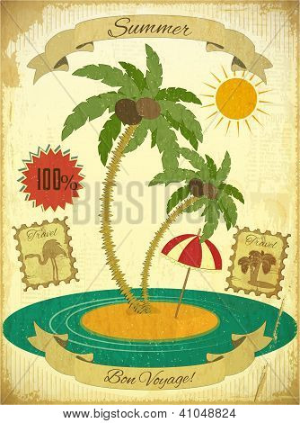 Retro Vintage Grunge Summer Vacation Postcard