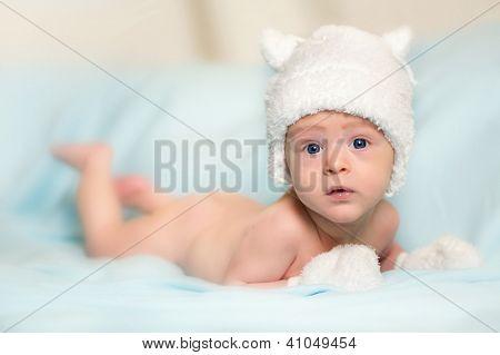Newborn baby on blue blanket