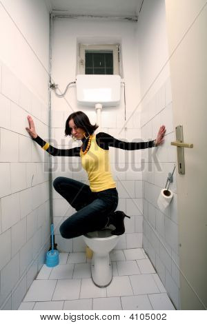 Woman In Public Toilet