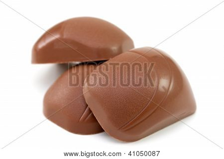 Three Chocolate  Bonbon On White Background
