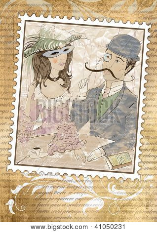 Postage Stamp In Vintage Style With A Picture Of Loving Couple