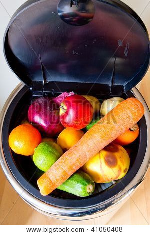 Bin And Lid Full Of Fruit And Vegetables