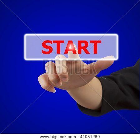 Woman Hand Touching Button Start