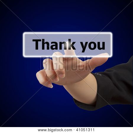 Woman Hand Touching Button Thank You
