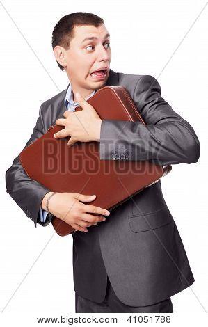 Young Businessman Embraces Portfolio  Isolated On White Background
