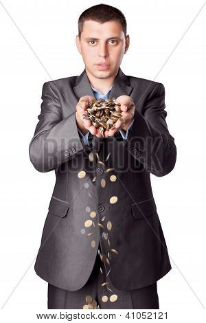 Young Businessman With Heap Of Coins Isolated On White Background