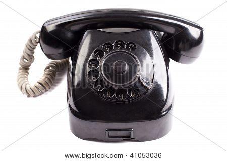 Old Black Phone On White Background
