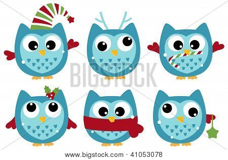 Cute Winter Owl Collection Isolated On White