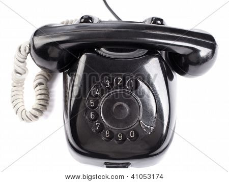 Old Black Phone On White Background