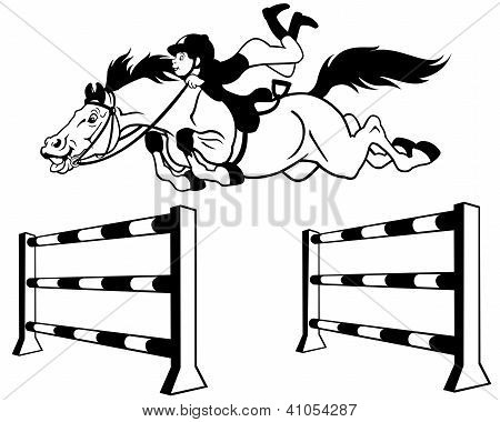kid horse rider black white