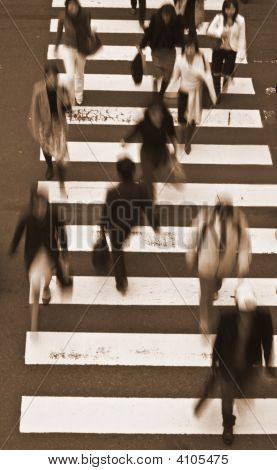 People Crossing The Street-Sepia Tones