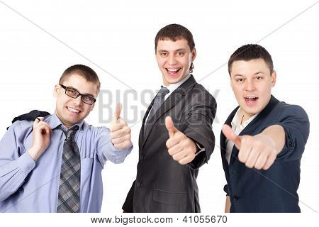Three Young Business Men Laughing And Giving The Thumbs Up Sign Isolated On White Background