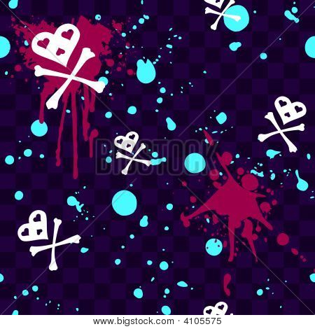 Emo Seamless Pattern With Paint Splatters