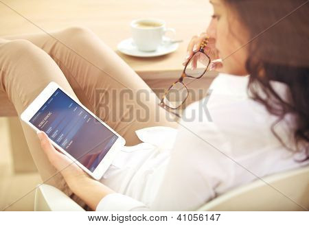 Young Corporate Woman Checking Her Bank Investment Online