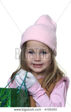 Little Girl Giving Christmas Gift
