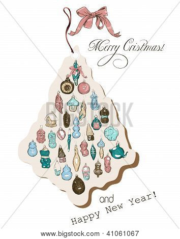 Vintage Christmas card pastel colors.
