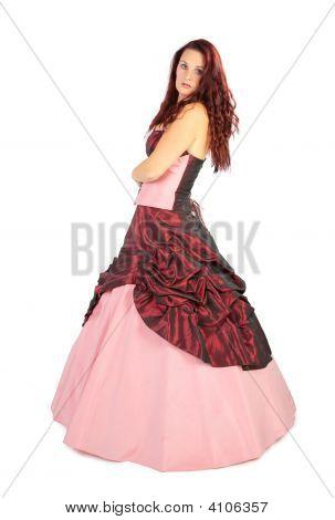 Beautiful Woman In Luxurious Dress With Crinoline