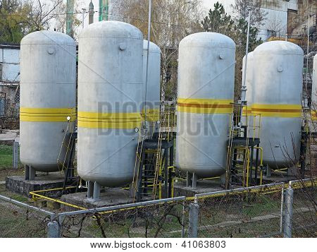 Old Industrial Chemical Storage Tanks