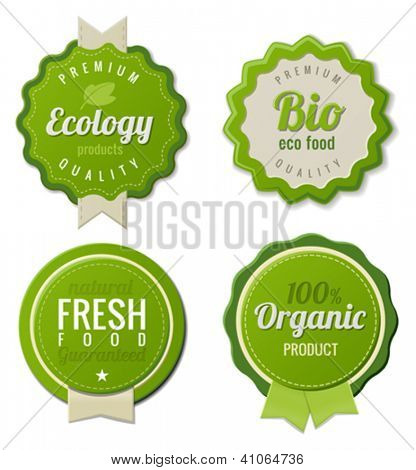 Eco Vintage Labels Bio template set. Ecology theme.  Retro design. Extra High quality. 3D Vector.
