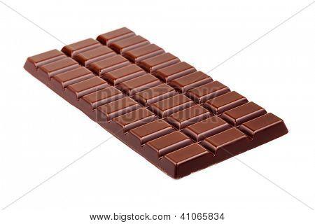 tablet of chocolate / chocolate bar isolated on white / sweet dark chocolate bar