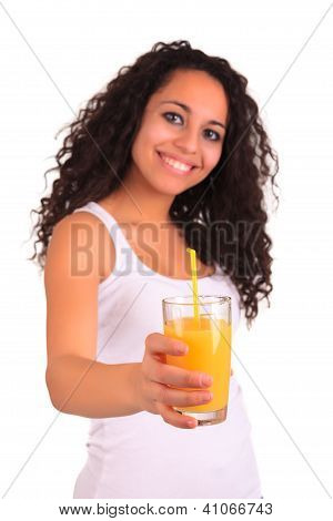 Young Woman Holding Glass Of Orange Juice Isolated Over White Background.