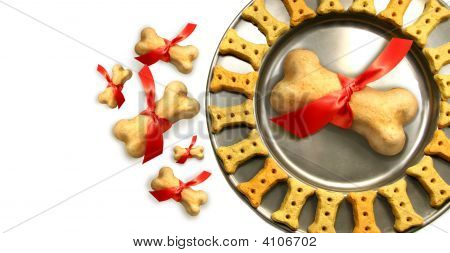 Doggy Biscuits For Christmas Against White