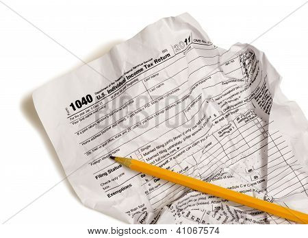 Income Tax Form With Pencil