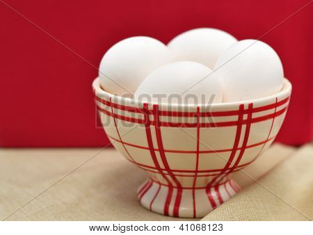 Eggs In A Red Checked Cup