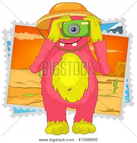Cartoon Character Funny Monster Isolated on White Background. Tourist Photographer. Vector EPS 10.