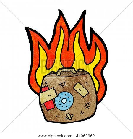 cartoon burning luggage