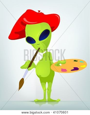 Cartoon Character Funny Alien. Vector Illustration.