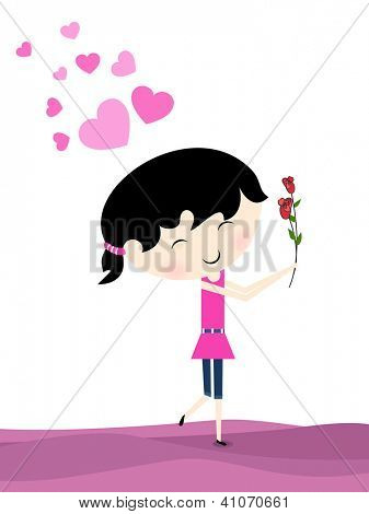 Valentine's Day love card, gift card or greeting card with smiling cute little girl with roses on pink hearts background . EPS 10.