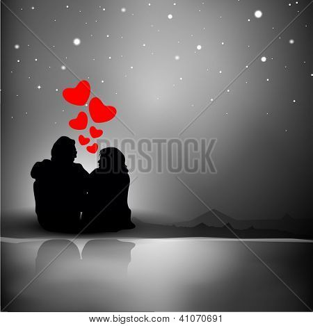 Valentine's Day background with silhouette of couples showing love in night background. EPS 10.
