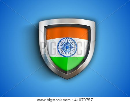 Winning shield in Indian Nation Flag. EPS 10.