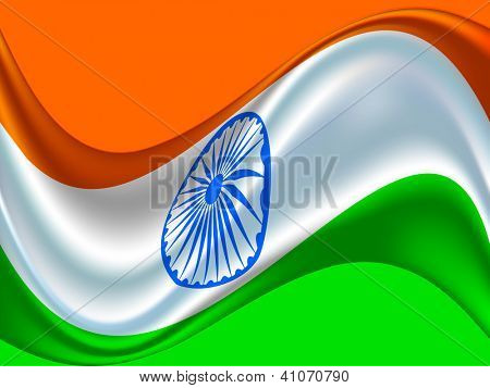 Indian flag color creative wave background with 3D Asoka wheel. EPS 10.