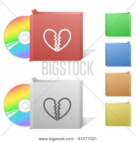 Unrequited love. Box with compact disc. Raster illustration.