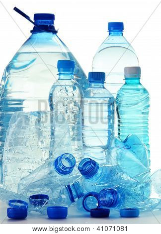 Composition With Plastic Bottles Of Mineral Water